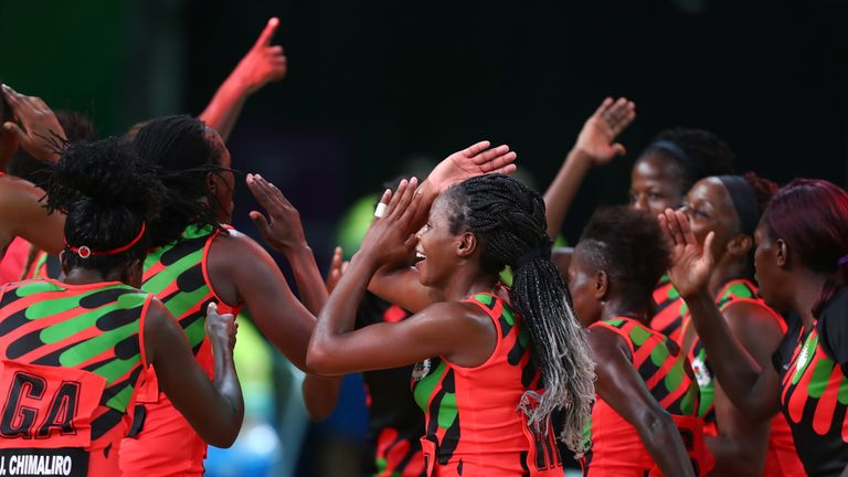 Malawi celebrate beating New Zealand at the Commonwealth Games in 2018