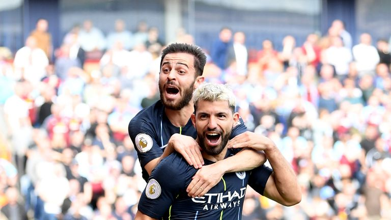 Sergio Aguero became the second player to score 20 goals in five Premier League seasons in a row with his strike against Burnley