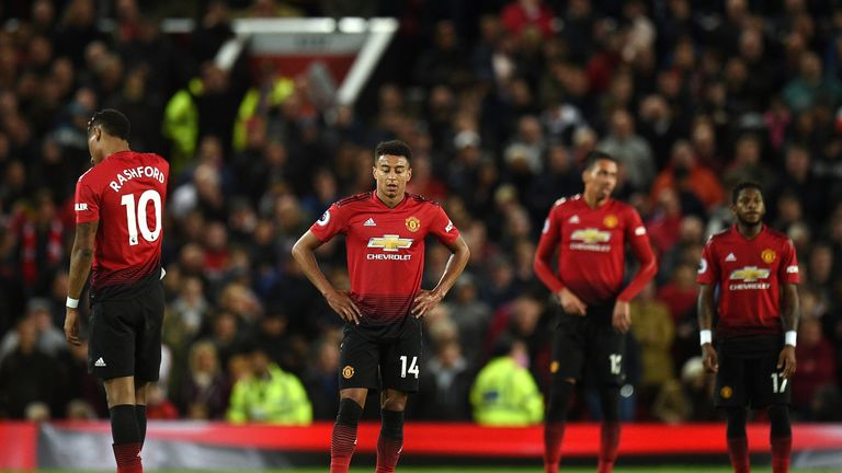 United's players look dejected during the 2-0 defeat to Manchester City