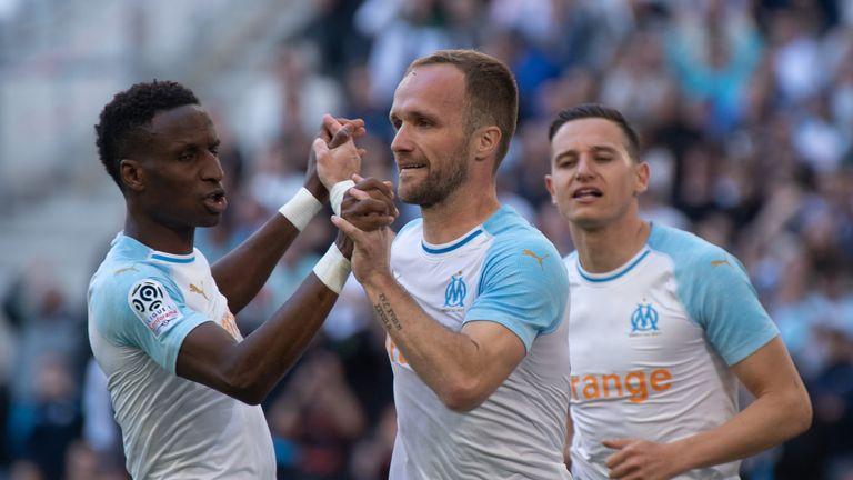 Valere Germain celebrates his goal for Marseille
