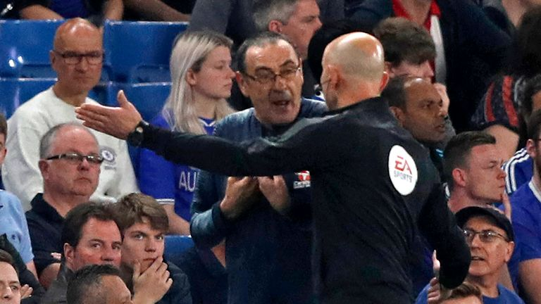 Maurizio Sarri was sent to the stands by referee Kevin Friend