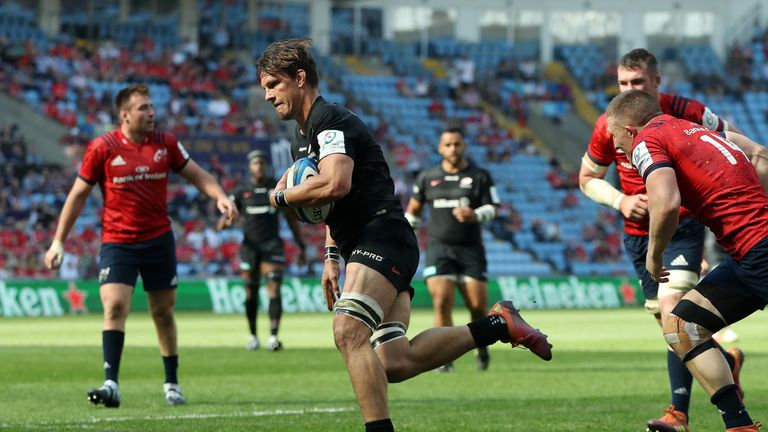 Flanker Michael Rhodes was among the try scorers as Saracens clinched a European Cup final place