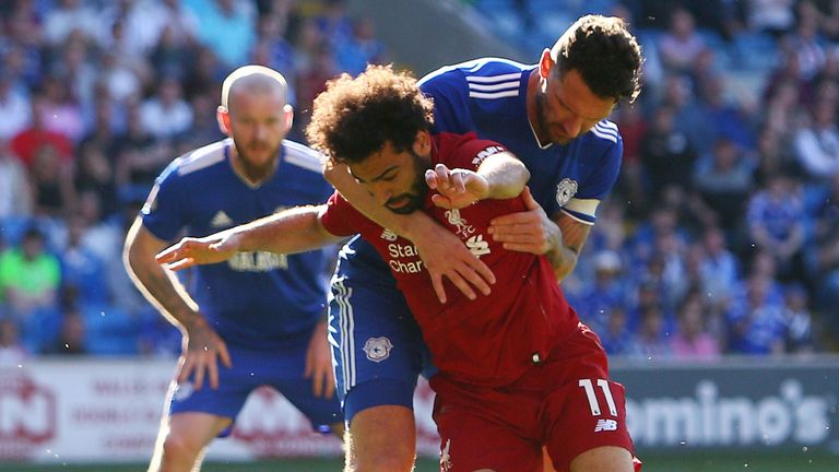 Mohamed Salah wins a penalty against Cardiff
