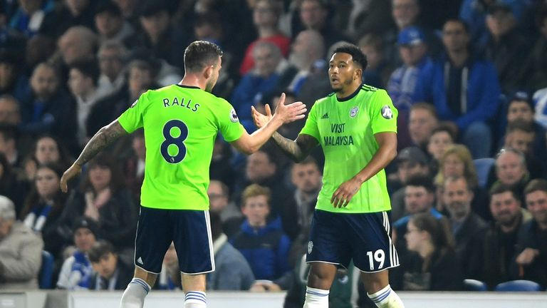 Nathaniel Mendez-Laing (right) gave Cardiff the lead with a fine strike