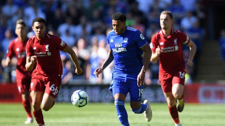 Cardiff's Nathaniel Mendez-Laing in action against Liverpool