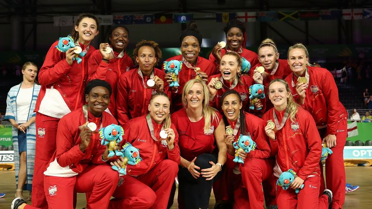 Tracey Neville celebrates with her squad after they won gold at the Commonwealth Games on the Gold Coast in 2018