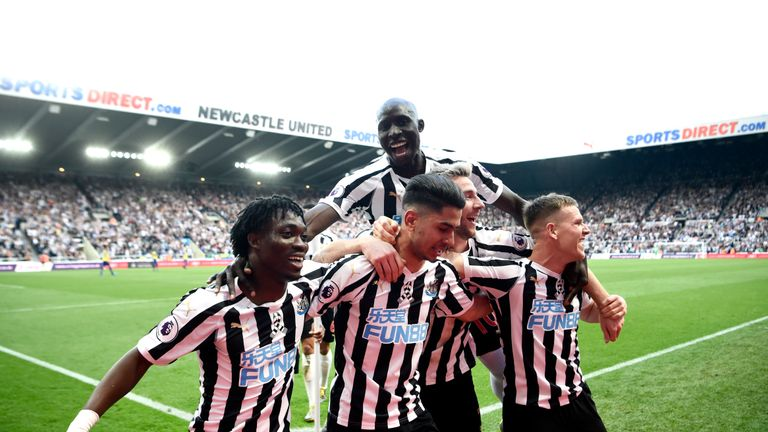 Newcastle celebrated Ayoze Perez's hat-trick goal in their win over Southampton