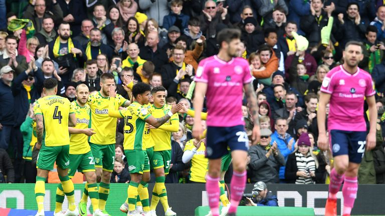 Norwich lead second-placed Sheffield United by seven points with six games remaining