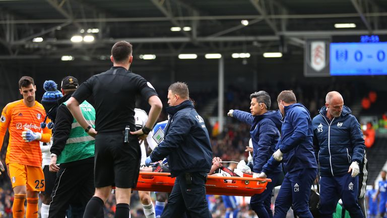 Odoi is stretchered off after an eight-minute break in play
