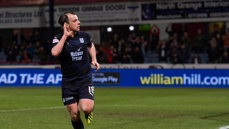 Dundee's Paul McGowan celebrates one of the three goals he has scored for the club this season
