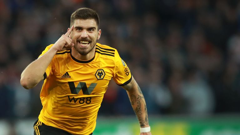 Ruben Neves celebrates after giving Wolves the lead at home to Arsenal
