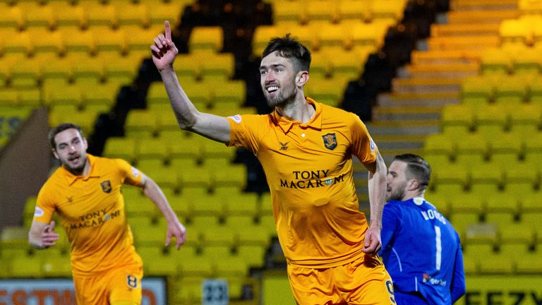 Ryan Hardie celebrates his opening goal for Livingston against Hamilton