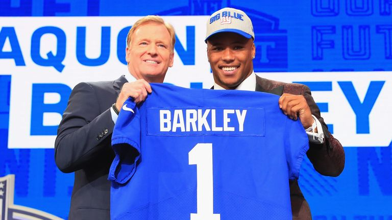 Saquon Barkley was selected No 2 overall by the New York Giants in 2018