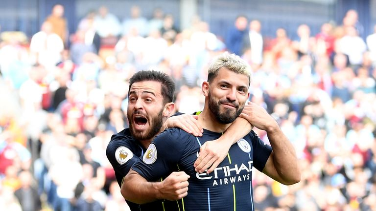 Aguero netted his 20th goal of the season at Turf Moor against Burnley