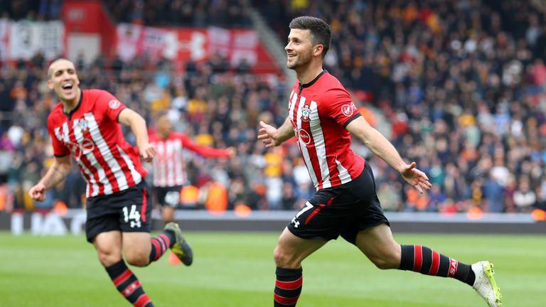 Shane Long celebrates after scoring Southampton's third goal against Wolves