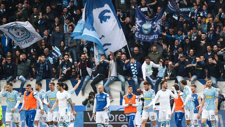 SPAL players celebrate after the victory