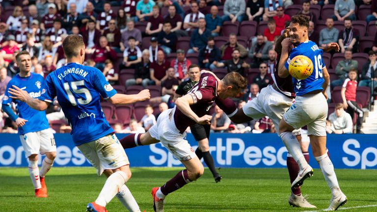 Hearts' Steven MacLean scores his side's only goal in their 1-3 defeat to Rangers last week