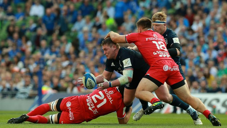 Tadhg Furlong headed off to a rousing reception as Leinster progressed