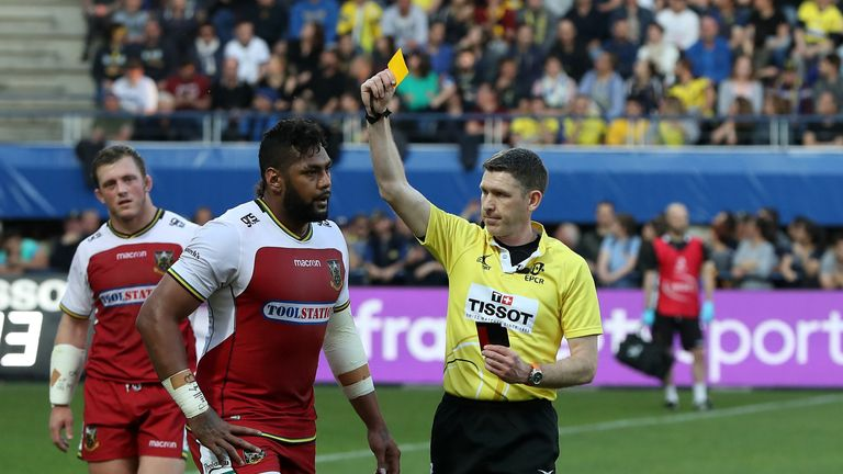 Northampton's Taqele Naiyaravoro is shown the yellow card by George Clancy
