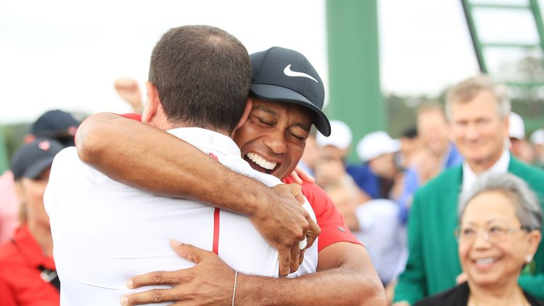 Tiger Woods celebrated a 15th major title on Sunday