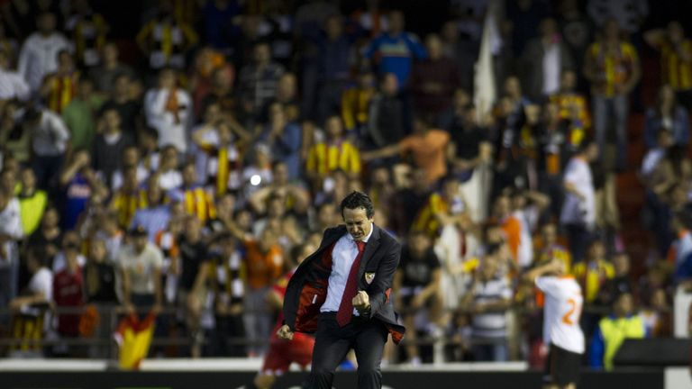 Emery returned to Valencia in 2014 as Sevilla boss - here he is celebrating an injury-time winner which helped his new club reach the Europa League final on away goals