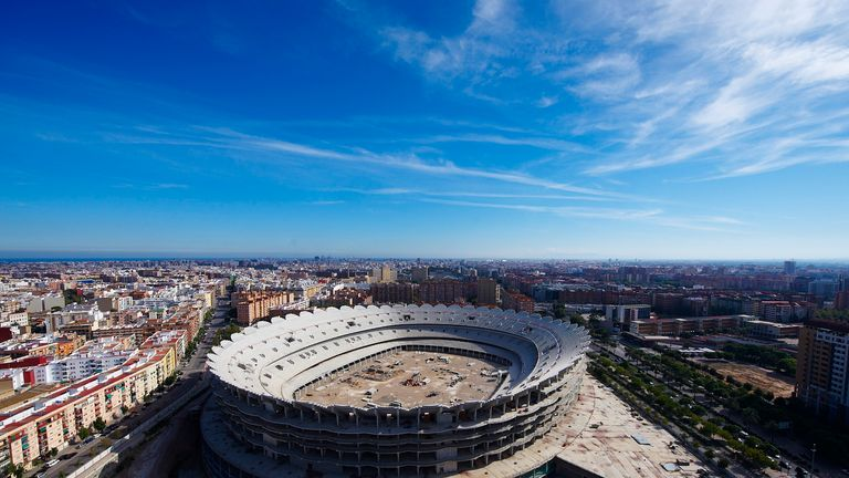 Pictured back in 2010, Valencia's new stadium plans were halted due to financial problems