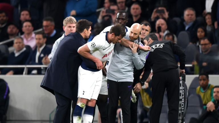 Jan Vertonghen suffered concussion during Spurs' Champions League tie against Ajax last season