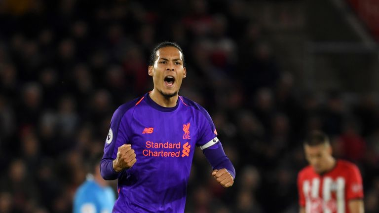 Virgil van Dijk celebrates the equaliser against his former club