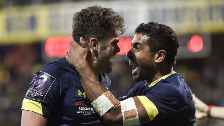 Damian Penaud and Wesley Fofana celebrate as Clermont reach the final