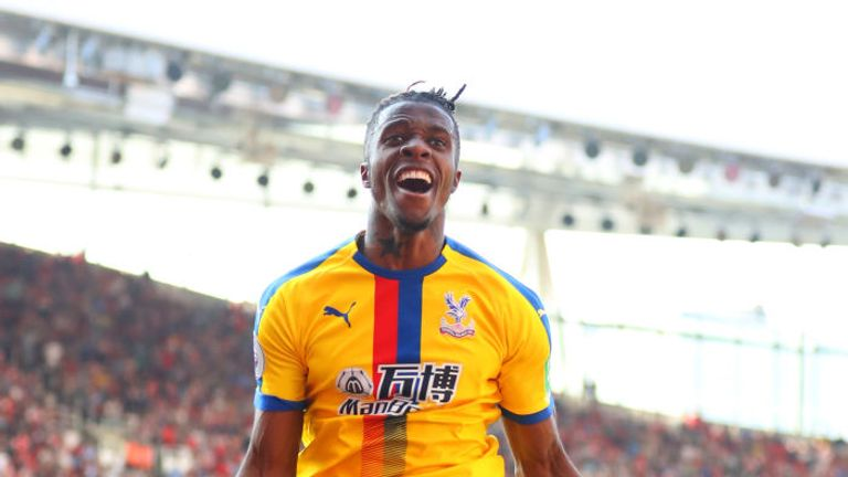 Wilfried Zaha was on target for Crystal Palace at Arsenal