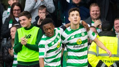 Celtic's Mikey Johnston (right) celebrates his second goal with debutant Karamoko Dembele