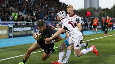 Tommy Seymour goes over for one of his two tries in Glasgow's win against Ulster
