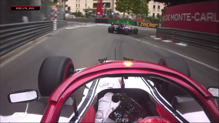 Kimi Raikkonen is a little angry down at the hairpin after a battle with Lance Stroll, who locked up, ran wide and then moved across to cover the oncoming Alfa Romeo
