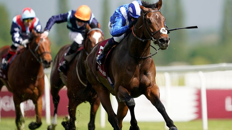 Jim Crowley riding Mustashry to win the Lockinge
