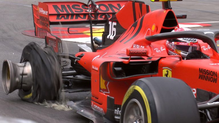 Charles Leclerc's Ferrari spun by itself as he hit the barrier with its right-rear