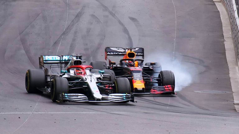 Lewis Hamilton and Max Verstappen made contact battling for the lead during the 67th lap