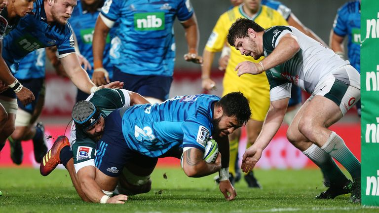 Akira Ioane is stopped just short of the try-line in the Blues' draw with the Bulls