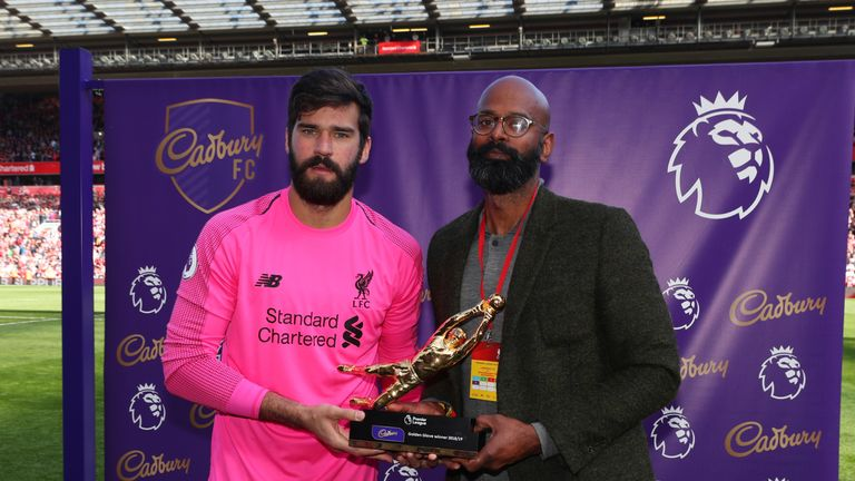 Alisson is presented with the Premier League Golden Glove award