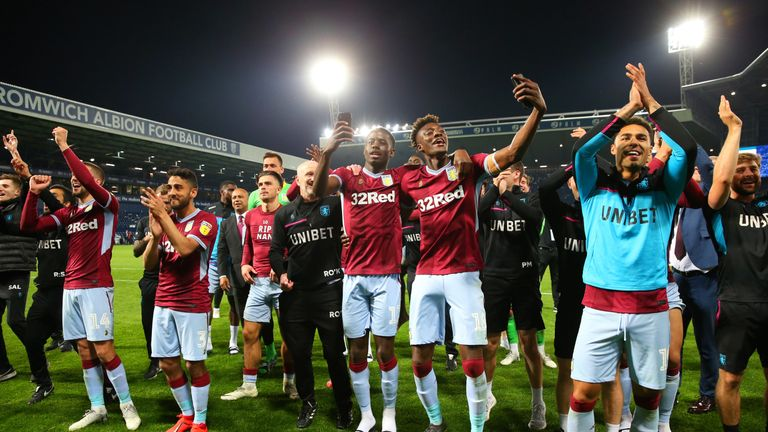 Aston Villa celebrate reaching the play-off final
