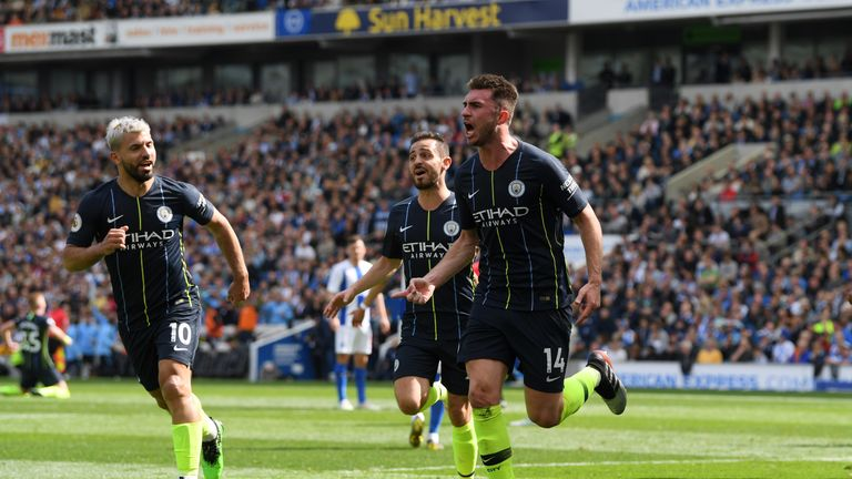 Aymeric Laporte celebrates after putting Manchester City 2-1 up