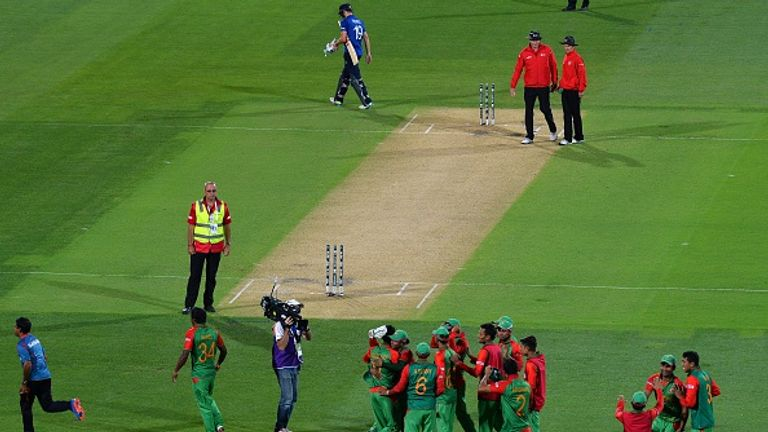 England's miserable 2015 World Cup campaign came to a crashing end when they were beaten by Bangladesh