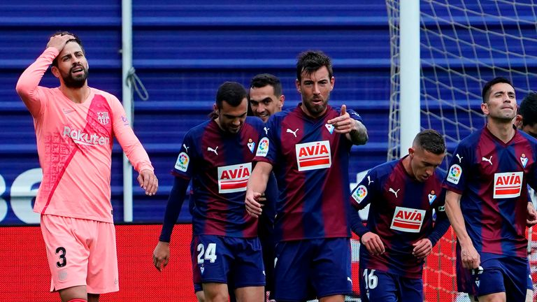 Eibar capitalised on an error by Gerard Pique to score their opener