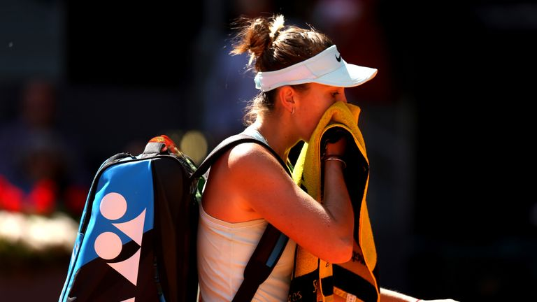 Belinda Bencic appeared visibly emotional and drained as she failed to win a game in the deciding set