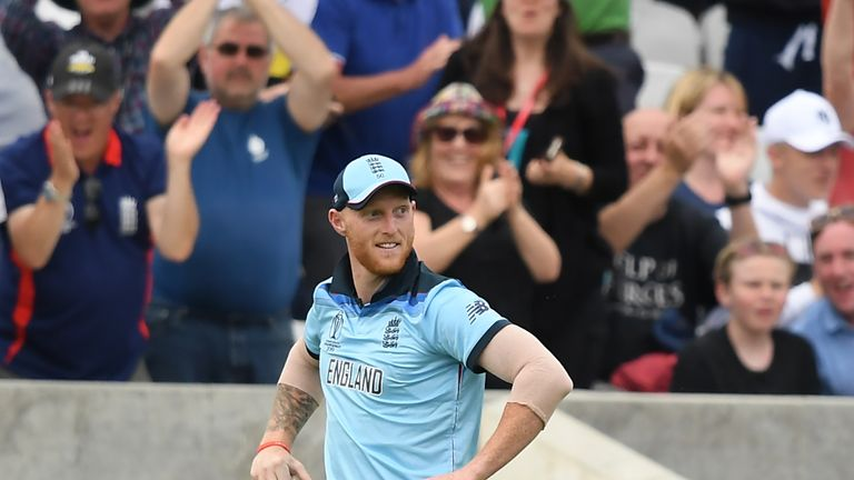 Stokes soaks up the atmosphere after his superb catch at The Oval on day one of the World Cup