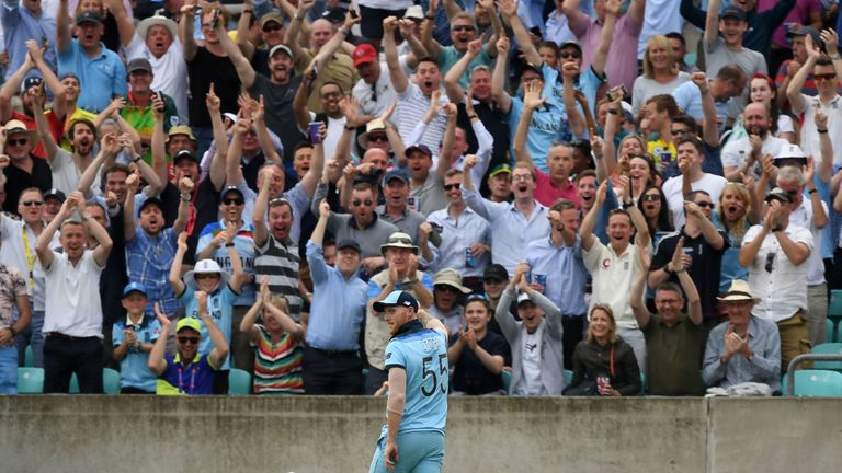 Ben Stokes brings The Oval crowd to its feet with his sensational catch in the win over South Africa