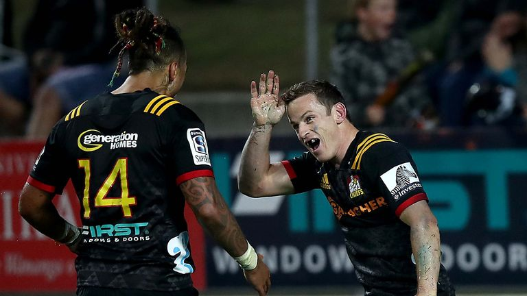 Brad Weber celebrates his try for the Chiefs