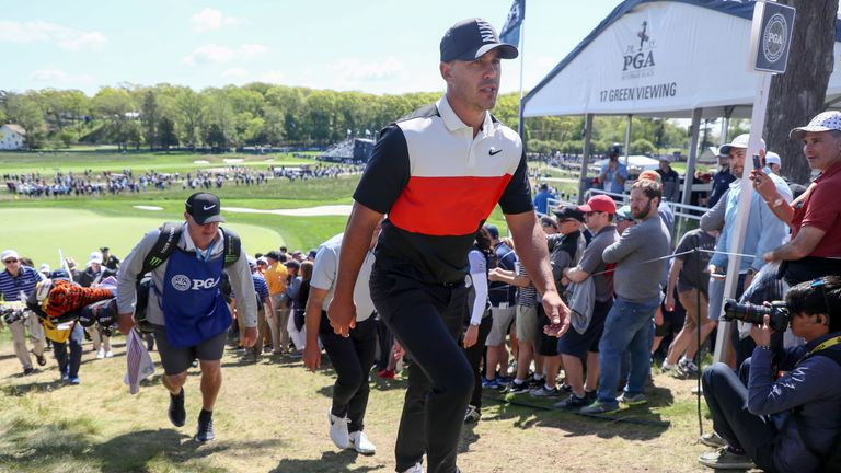 Brooks Koepka holds a one-shot lead at the PGA Championship