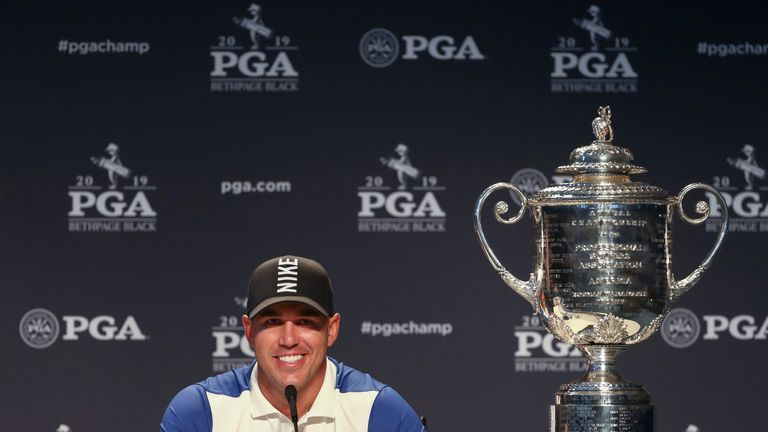 Koepka was all smiles at his press conference after winning the PGA Championship