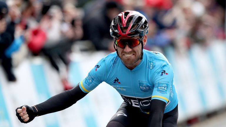 Team Ineos' Christopher Lawless celebrates winning the Tour de Yorkshire after stage four of last year's race