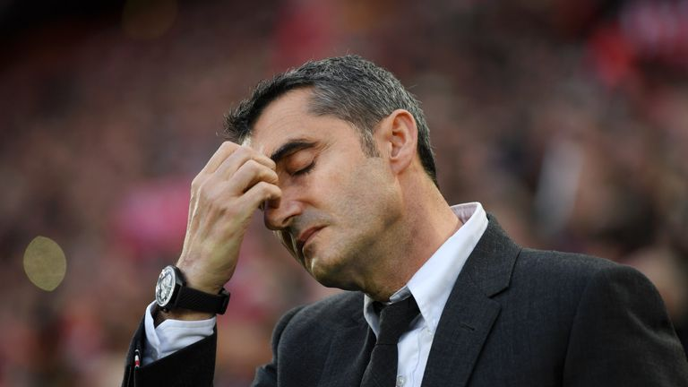 Ernesto Valverde is under increasing pressure as manager of Barcelona